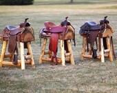 Custom for David: One Authentic Western Horse Saddle Bar Stool