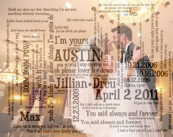 Custom Word Art Print With Photograph: Wedding, Engagement, Anniversary (UNFRAMED)