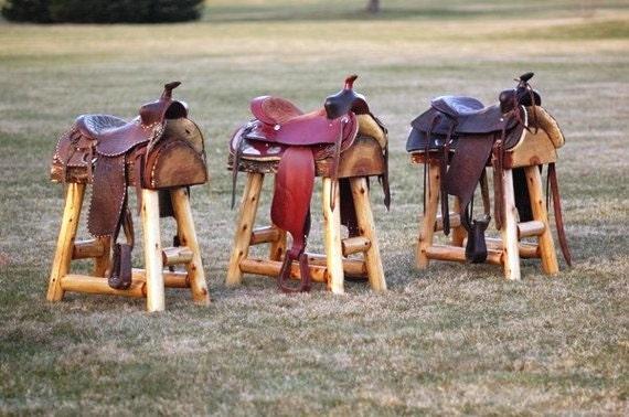 Set Of 2 Authentic Western Horse Saddle Bar Stools