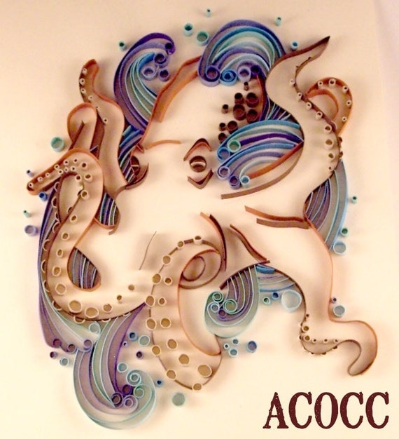 Quilled Octopus frollicking in waves wall art  ON SALE