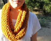 """Knitted Tube Scarf in """"Mustard"""""""