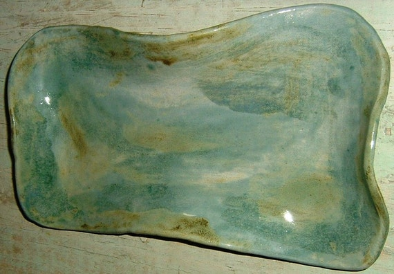 Green Blue PLATTER Beautiful Multi Glazed One of a Kind Hand Shaped On Sale
