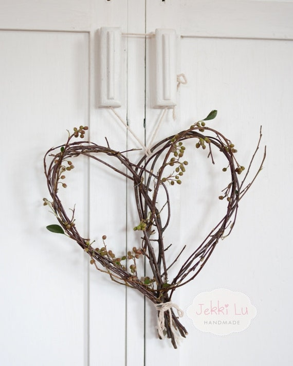 Natural Heart Twig Wreath By Jekkilu On Etsy