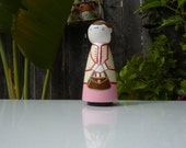 Mother in Pink Whittle Peg Doll