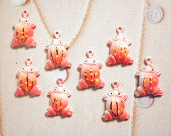 8 Hand Painted 15mm Frog Charms with Loop