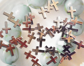 36 Silverplated 10x8mm Cross Findings