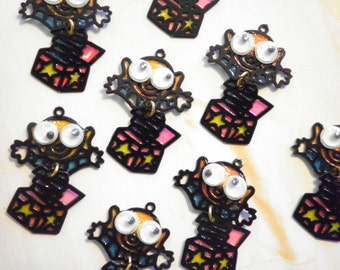16 Vintage Goggle Eye Jack in the Box Charms