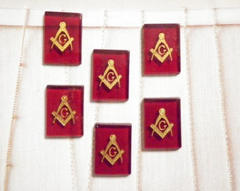 6 Vintage Lucite 18x13mm Red Masonic Cabochons