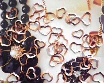 72 Vintage Coppercoated 11mm Open Heart Findings