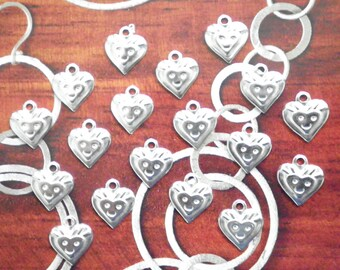 18 Vintage Silverplated 10mm Smiley Face in a Heart Charms