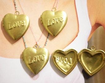 4 Vintage Brass 23mm Heart Lockets with Love