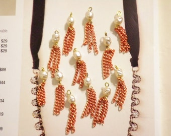 12 Vintage Coppercoated 30mm Tassels with Pearl Bead Cap