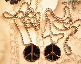 """2 Silverplated Black Enameled Peace Signs on 24"""" Ball Chains"""
