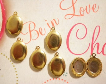 6 Vintage Goldplated 14x10mm Lockets