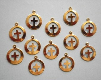 12 Vintage Goldplated 13mm Cross in a Circle Charms
