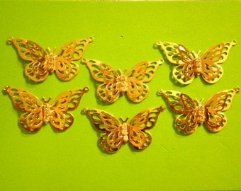 6 Goldplated 43mm Goldplated Butterfly Pendants with 3 Rhinestones