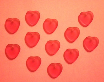 12 Vintage Glass 10mm Matte Rose Heart Pendants
