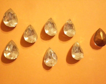 8 Vintage West German Glass 16x12mm Pearshaped Crystal Faceted Stones