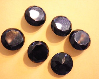 6 Vintage Czech Glass 20mm Black Faceted Stones