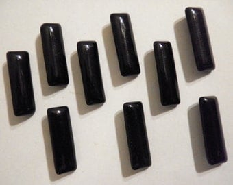9 Vintagee West German Glass 24x8mm Black Faceted Baguette Stones
