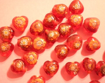 24 Vintage Glass 10mm Red Heart Beads with Hand Painted Flowers