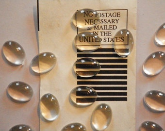 24 Lucite 14x10mm Crystal Clear Magnifying Cabochons