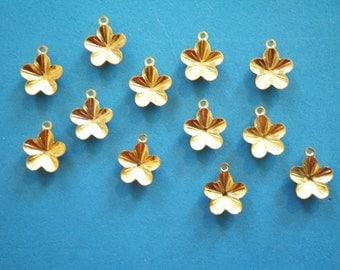 12 Goldplated 12mm Flower Pendant Settings
