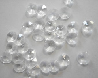 72 Vintage Lucite 10mm Crystal Clear Faceted Stones with Holes