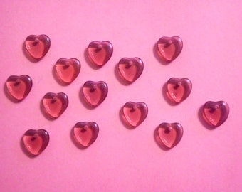 14 Vintage Glass 10mm Ruby Red Glass Hearts with Hole
