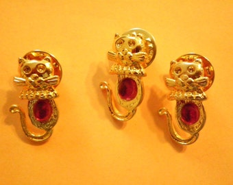 3 Goldplated Kitty Kat Pins with Ruby Red Stone