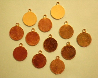 12 Vintage Goldplated 13mm Round Settings with Loop