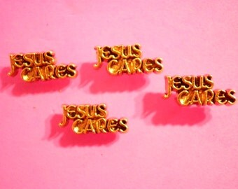 4 Vintage Goldplated Jesus Cares Pin Brooches