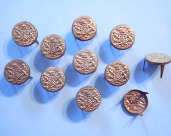 12 Vintage Coppercoated 14mm Coat of Arms with Pins