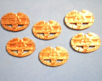 6 Vintage Brass 1st Award Army Combat Medical Badges
