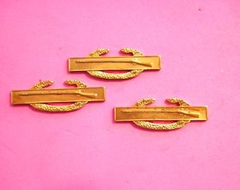"3 Vintage Brass 1-1/4"" U.S. Army Combat Infantry Badge Ist Award Stamping"