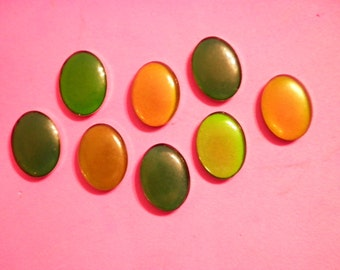 8 Vintage Lucite 18x13mm 70s Real Working Moodstones