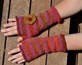 Handknit Fingerless Striped Noro Gloves