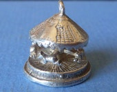 Vintage 3D  Sterling silver moving Carousel or Merry Go Round  Charm solid silver bracelet charm