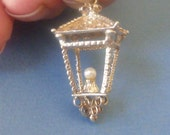 Vintage Large English solid sterling Silver  Lantern with Pearl Charm XXL Bracelet charm