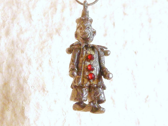 Vintage Detailed Sterling Silver Jeweled Moving Circus Clown Bracelet charm
