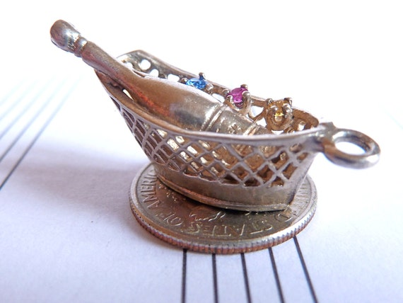 Vintage Sterling  Silver Charm basket with Champagne & coloured stones