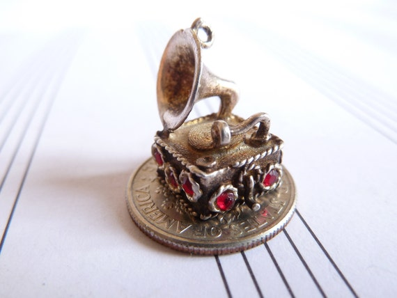 Vintage English Sterling silver charm  Gem Set Gramophone