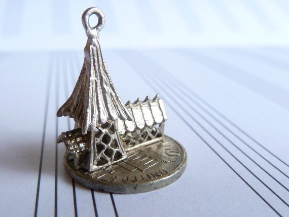 Vintage English  3D Sterling  Silver   Charm  Filigree church Pendant