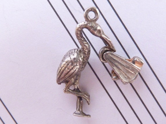 Vintage 3D  English Sterling  Silver Charm  Stork with Baby moves Bracelet charm pendant