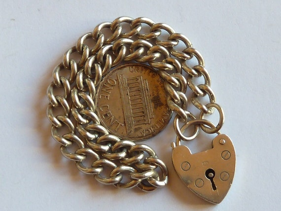 1965  Vintage English Sterling Silver   Bracelet Charm With Hearth Padlock
