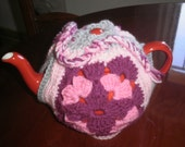 Colourful, crocheted squares, original tea cosy.