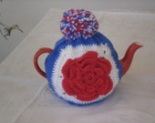 Patriotic, Queens Jubilee, Tea Cosy with pom pom, Red, White & blue, US or UK, Olympic Games.