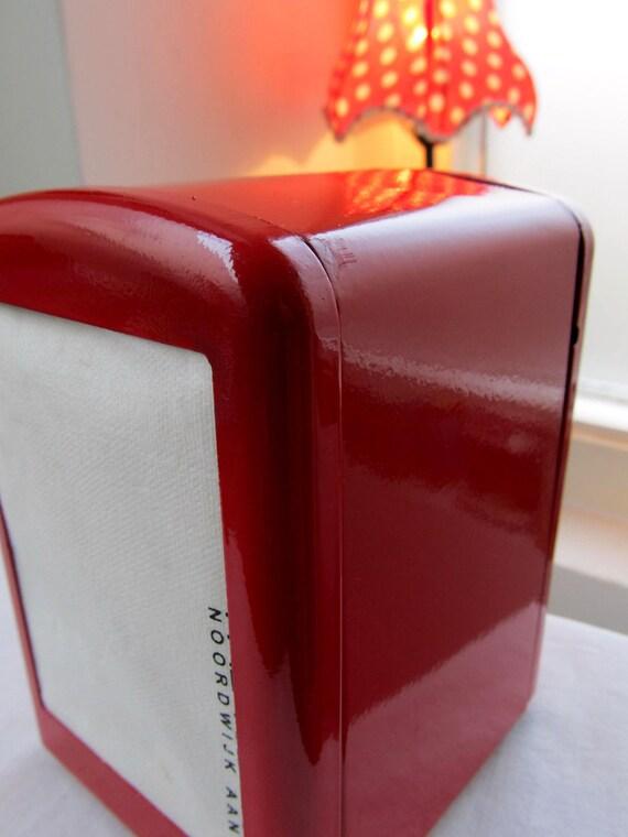 Red napkin dispenser