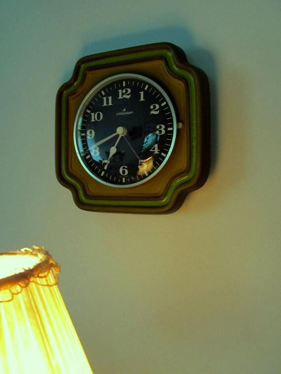 1970's German Art Pottery Junghans Wall Clock