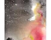 15% OFF SALE - Original Landscape Watercolor Painting - Brilliant NIght Sky Stars